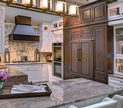 Nest Cabinetry  Style: Frisco  Material: Maple  Finish: Amber Low Sheen and Briarwood